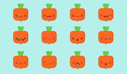 Set of vector kawaii carrot emoticons. Isolated on light blue background.