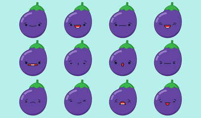 Set of vector kawaii eggplant emoticons. Isolated on light blue background.