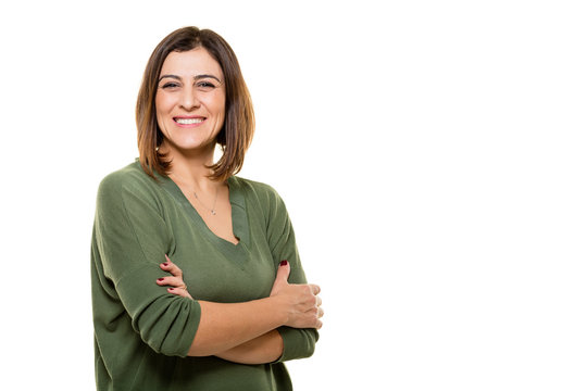Happy young woman posing on white background.