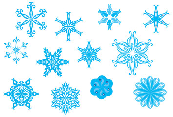 Crystallized, ornate snowflakes and snow flowers collection for Christmas in wintertime