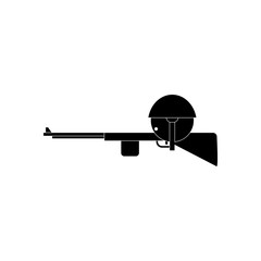 black vector icon on white background Soldier with rifle aiming