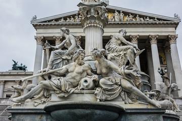 Pallas Athena fountain near Parliament Building. Vienna, Austria