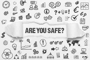 Are you safe? / weißes Papier mit Symbole