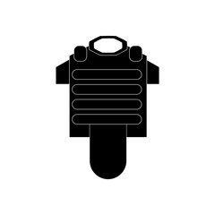 black vector icon on white background bulletproof vest