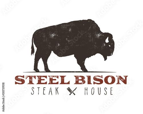 steak house vintage label typography letterpress design vector retro logo included bbq grill. Black Bedroom Furniture Sets. Home Design Ideas