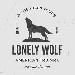 Old wilderness label with wolf and typography elements. Vintage style wolf logo. Prints of howling wolf. Unique design for t-shirts. Hand drawn wolf insignia, rustic design. Vector Letterpress effect