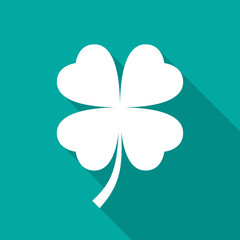 Four leaf clover icon with long shadow. Flat design style. Clover silhouette. Simple green icon. Modern flat icon in stylish colors. Web site page and mobile app design vector element.