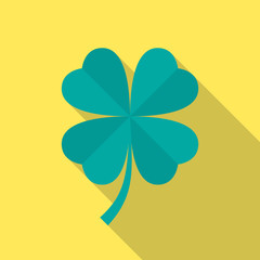 Four leaf clover icon with long shadow. Flat design style. Clover silhouette. Simple icon. Modern flat icon in stylish colors. Web site page and mobile app design vector element.