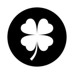 Four leaf clover icon. Black icon isolated on white background. Round icon. Clover silhouette. Simple circle icon. Web site page and mobile app design vector element.