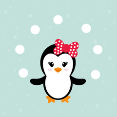 cute penguin girl with snowball