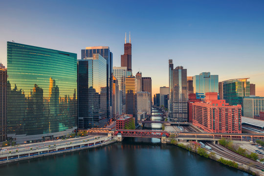 Chicago at dawn. Cityscape image of Chicago downtown at sunrise.