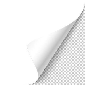 White page curled corner with shadow on transparent background