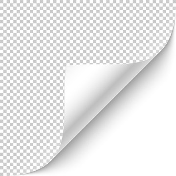 Curled corner with shadow on transparent background