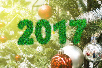 2017 Alphabet from the green grass on christmas ball with in pin