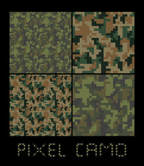 Pixel camo seamless pattern Big set. Green, forest, jungle, urban, brown camouflages. Vector fabric textile print designs