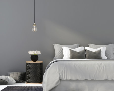 Gray bedroom with a wooden table
