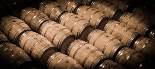 Barrels in Wine Cellar-Bordeaux Wineyard