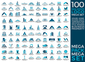 Mega Set and Big Group, One Hundred, Real Estate, Building and Construction Logo Vector Design Eps 10