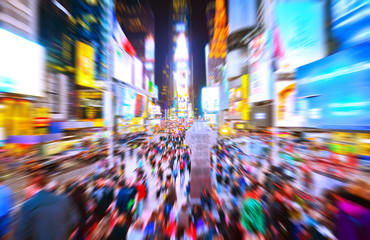 View of Times Square at night in New York City with motion effect