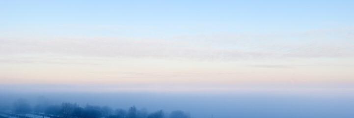 Panorama of winter fog