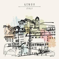 View of Genoa, Liguria, Italy, Europe. Artistic hand drawn vinta