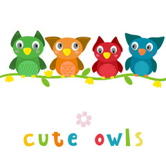 Cute Vector owls in cartoon style. vector print