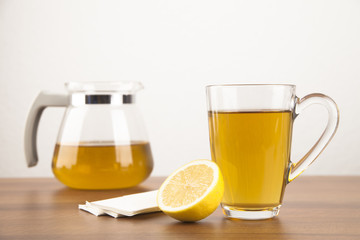 Tea with lemon and handkerchiefs during a disease