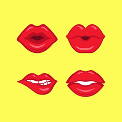 Set of red lips on yellow background made in comics style
