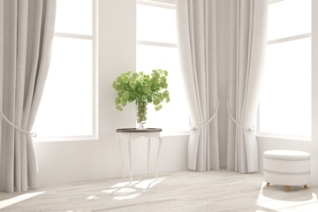 White living room interior. Scandinavian home design
