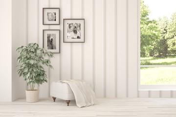 White living room interior with chair. Scandinavian home design
