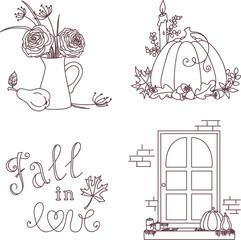 Autumn isolated hand drawn clip-art set