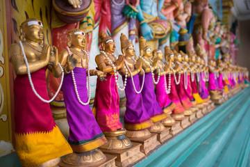 KUALA LUMPUR, MALAYSIA; 20th NOVEMBER 2016 - Small figure statues in Sri Maha Mariamman Temple Dhevasthanam near downtown Kuala Lumpur, Malaysia.