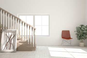 White living room interior with stair