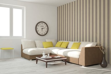 White living room interior with furniture