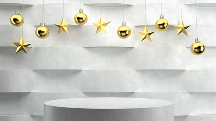 Empty podium on wave pattern background with hanging  balls and stars ornaments. For new year or Christmas theme. 3D rendering.