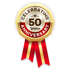 Red celebrating 50 years badge, rosette with gold border and ribbon