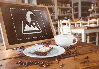 Chalkboard Tablet with Dessert and Coffee Mockup