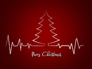 Red Merry Christmas greetings card with Heart beat, cardiogram and christmas tree