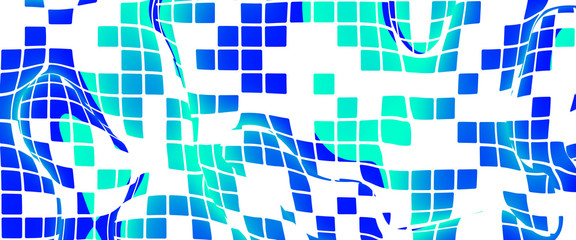 Mosaic wavy pattern formed by blue squares on white background.