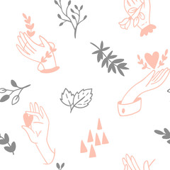 Seamless hands pattern.