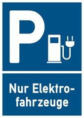 psn1 ParkingSignNew psn - ks152 Kombi-Schild - Parkplatz - Parken nur für Elektrofahrzeuge - DIN A1 A2 A3 A4 Poster - blau xxl g4818