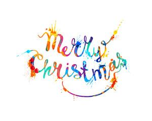 Merry Christmas. Hand writing splash paint