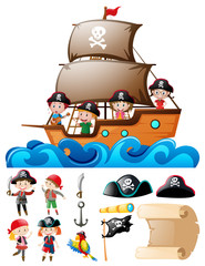 Pirate set with kids on ship and other elements