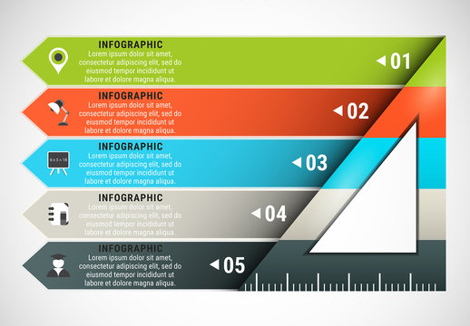 Triangular Ruler Element Infographic with Grayscale Icon Set