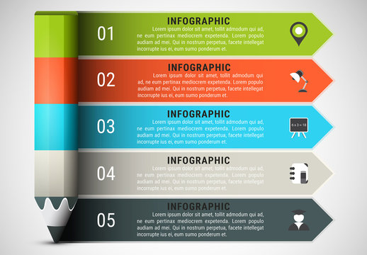 Pencil Element Infographic with Grayscale Icon Set