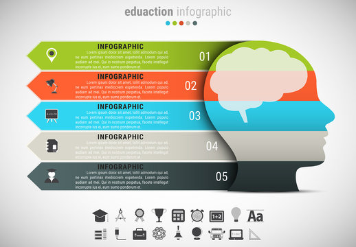 Silhouetted Face Element Infographic with Grayscale Icon Set