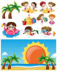Beach scene with children in different activities