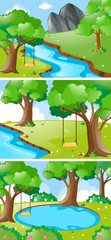 Nature scenes with river and swing