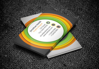 Business Card with Bull's Eye Circle Design Layout