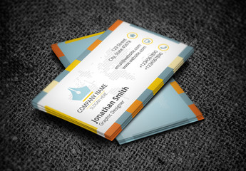 Business Card with Three-Color Checkered Border Design Layout